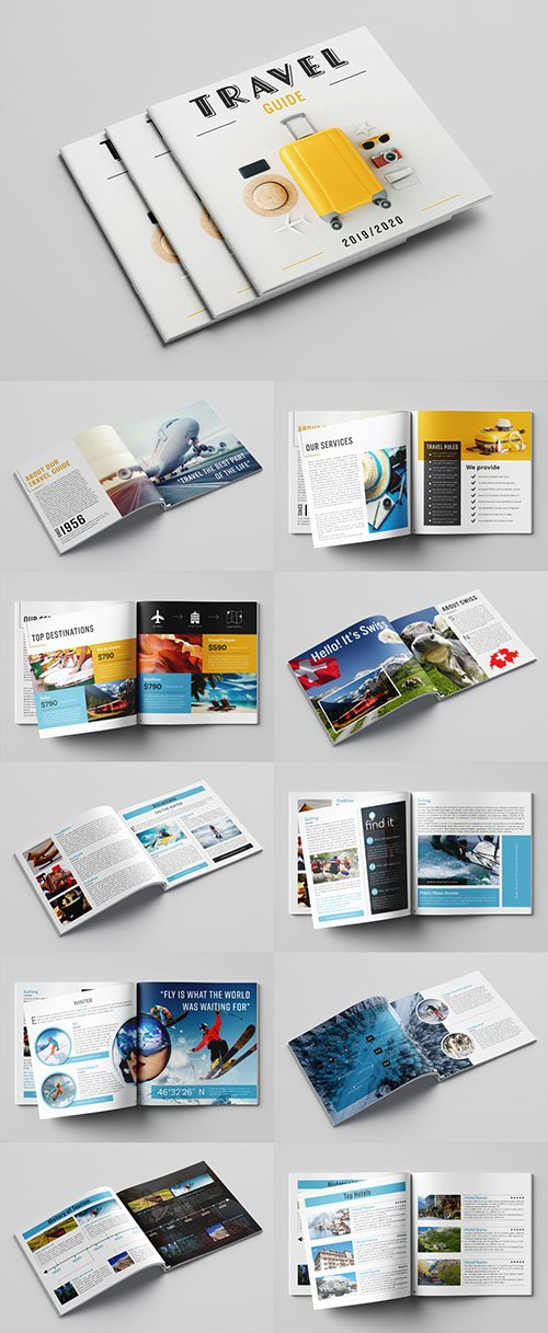 Travel Guide Layout with Blue and Orange Accents 281095661 INDT