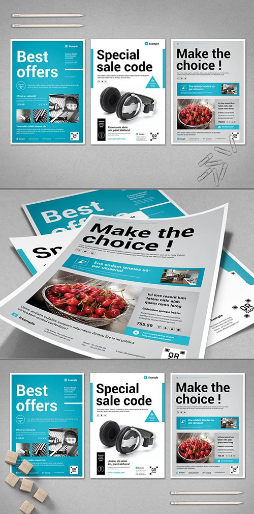 White and Light Gray Product Flyer with Blue Accents 281457658 INDT
