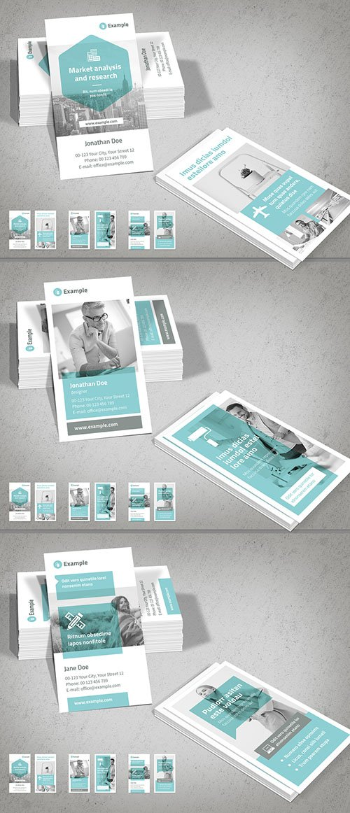 Vertical Business Card Layout with Light Blue Accents 278597079 INDT