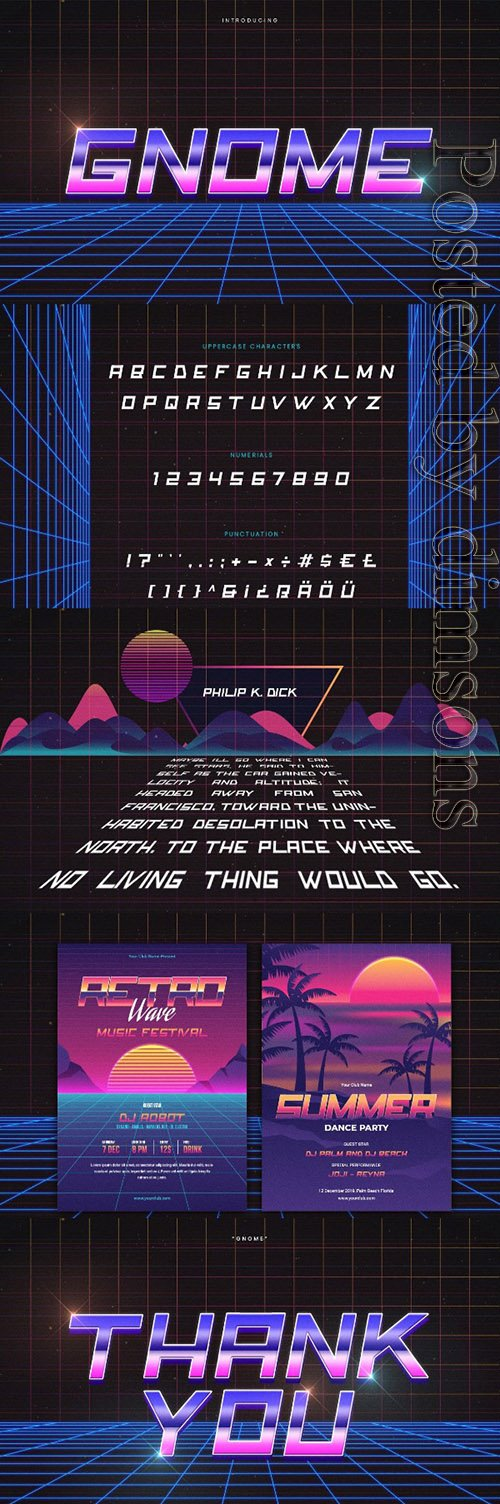 Gnome - Retro Wave Typeface