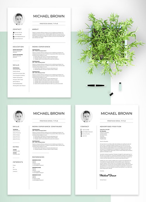 Minimal Resume and Cover Letter Set 293874324 INDT