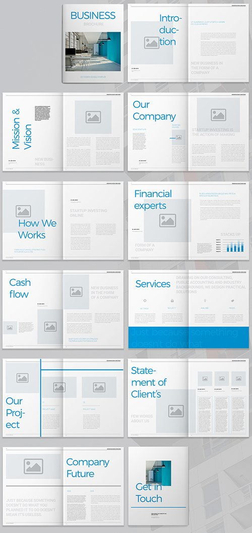 Business Brochure Layout with Blue Accents 293877947 INDT