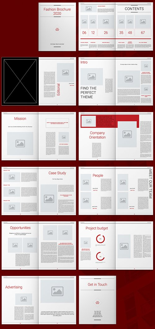 Brochure Layout with Red Accents 293878043 INDT