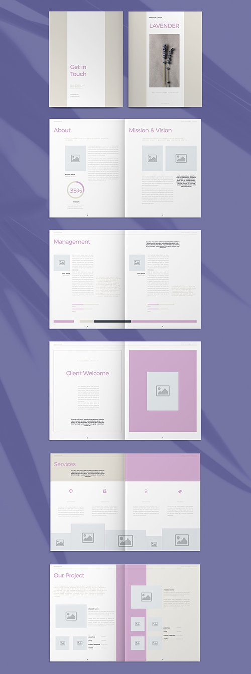 Business Brochure Layout with Purple Accents 293882892 INDT