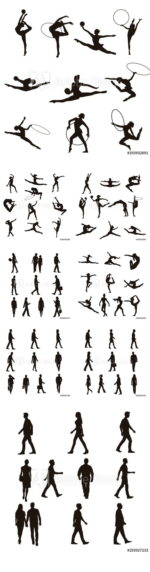 Gymnastic and People Walking Silhouettes