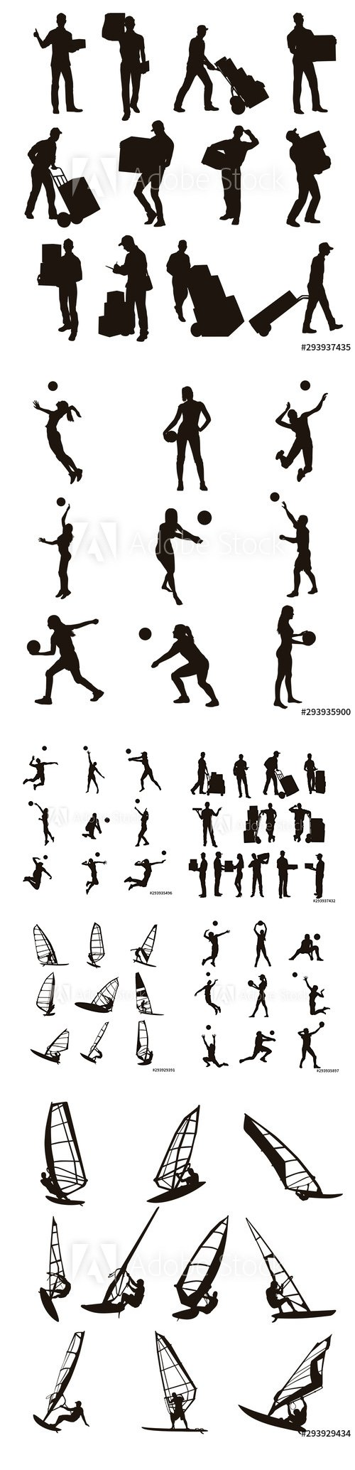 Delivery Man, Volleyball Player and Windsurfing Silhouettes