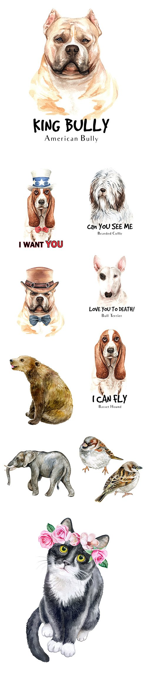 Watercolor Printing Animals