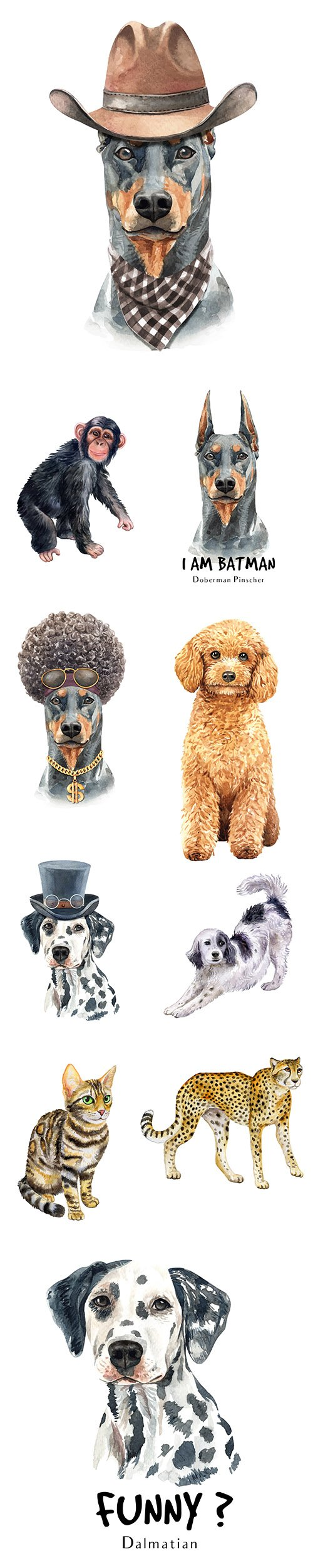 Watercolor Printing Animals Vol2