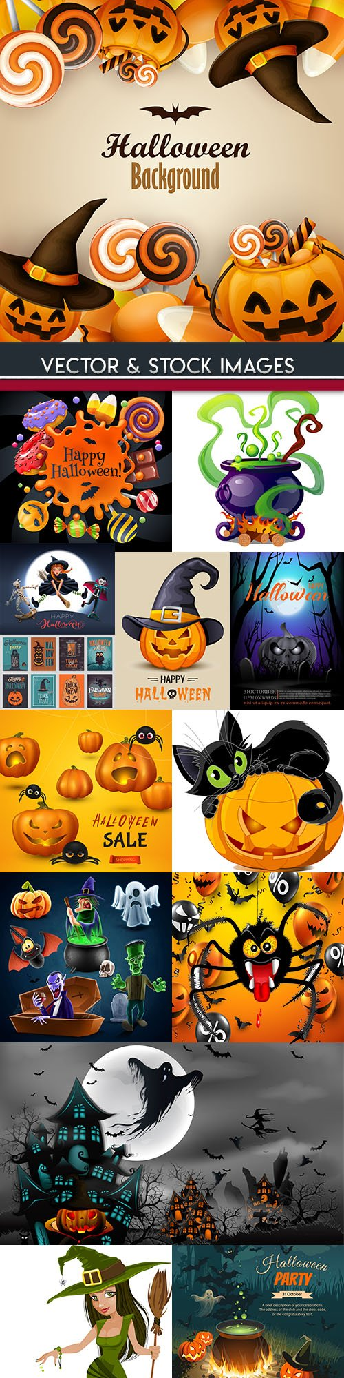 Happy Halloween holiday illustration collection 37