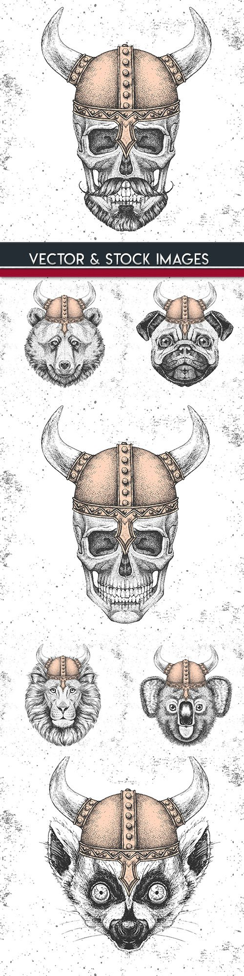Head animal and skull in Viking grunge helmet drawing