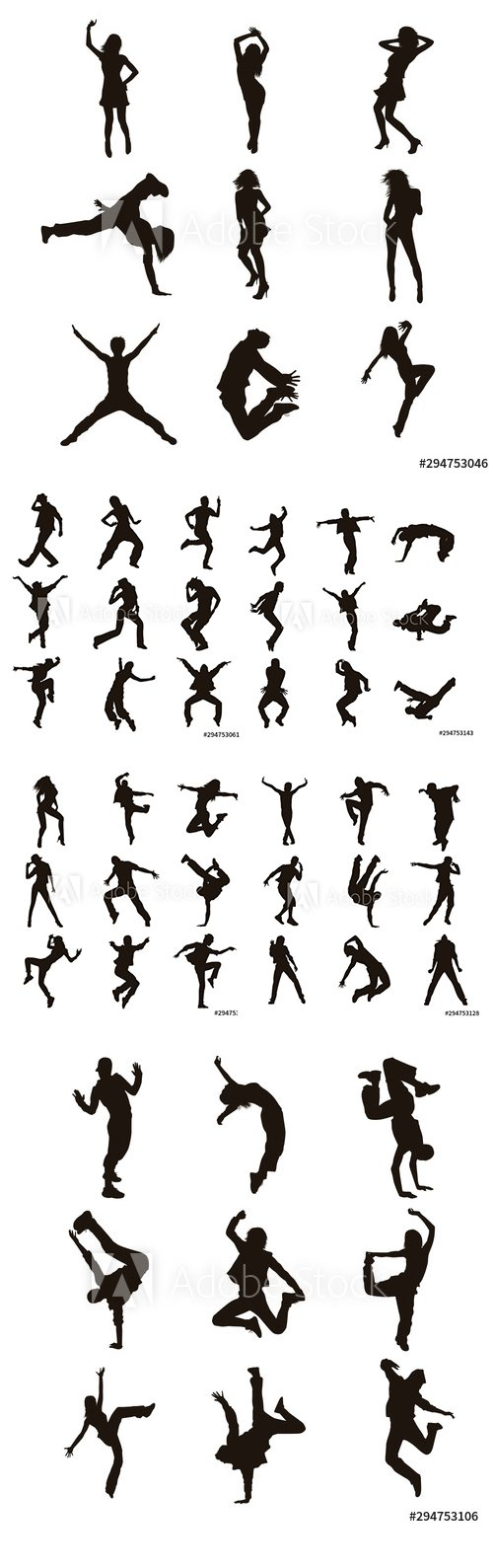 Dancer Silhouettes Vector Illustration
