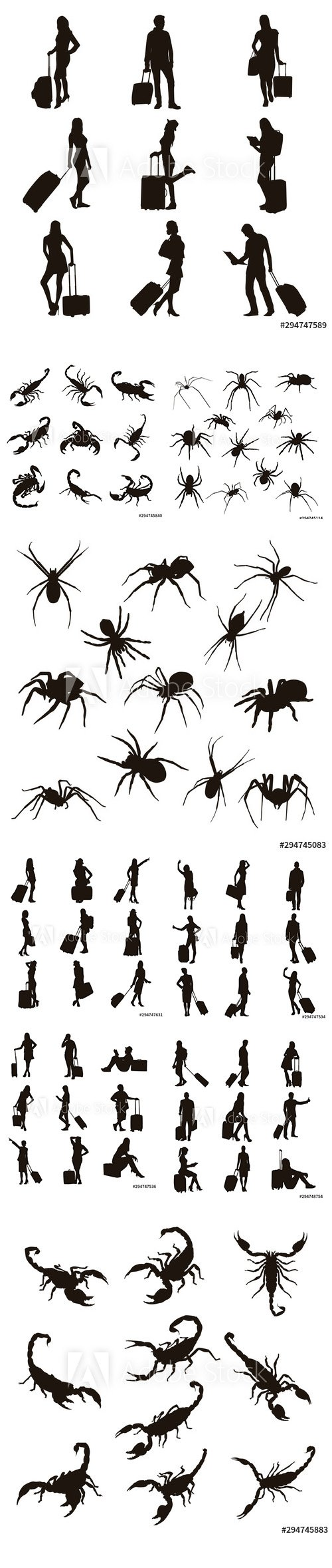 People with Travel Bag, Scorpion and Spider Vector Illustration