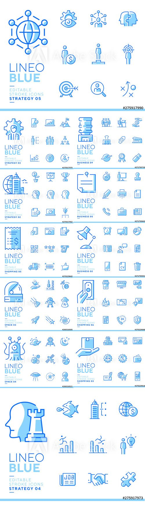 Lineo Blue - Line Icons Vector Pack
