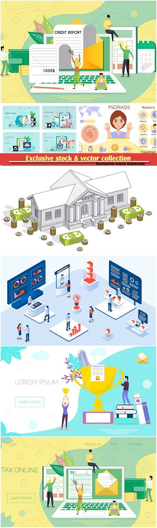 Website page isometric vector illustration, flat banner # 17