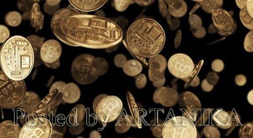 Falling Gold Coins Bitcoin 21916754