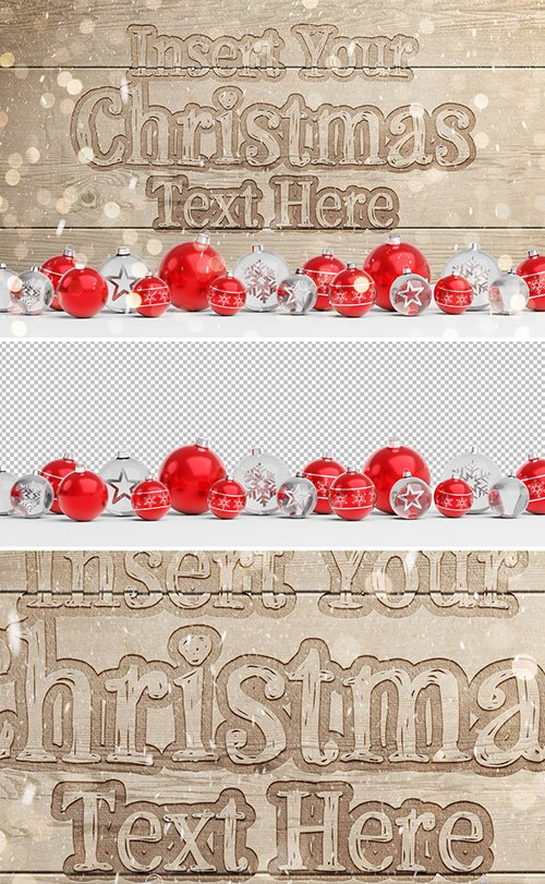 Christmas Wooden Text Effect Mockup with Ornaments 293461305 PSDT