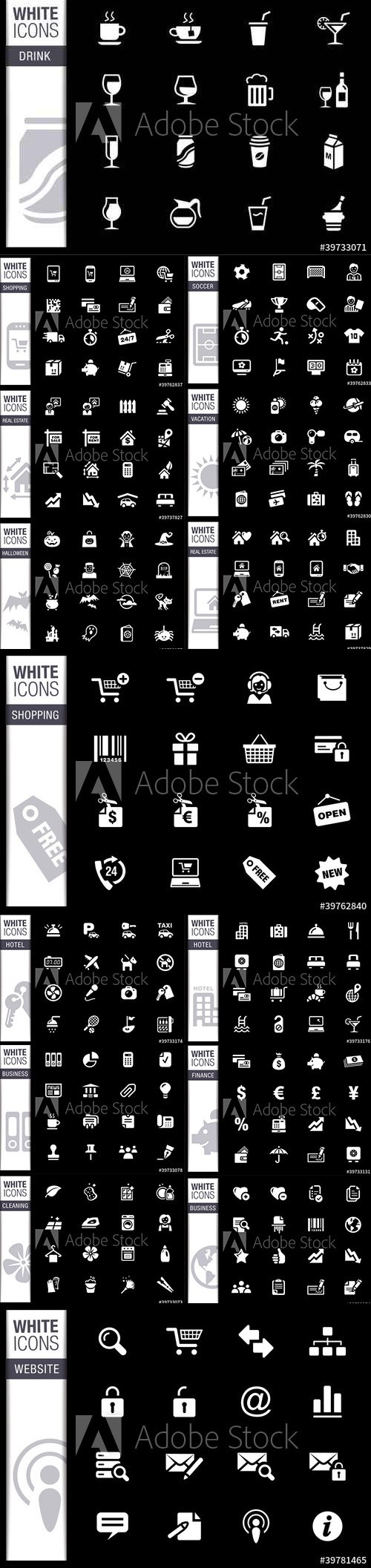 Vector WHITE Icons Pack Vol 2