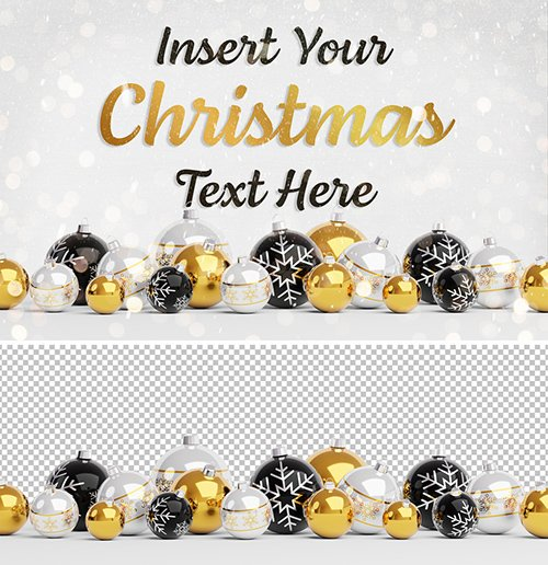 Web Christmas Card Mockup with Yellow Ornaments 293877067 PSDT