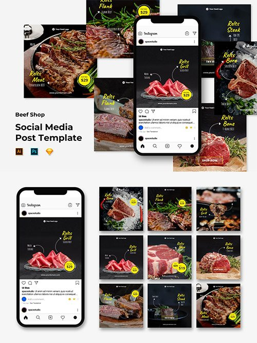 Instagram Post/Feed Template - Beef Shop PSD