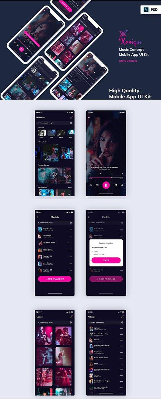 Xonique-Music Mobile App UI Kit Dark Version PSD