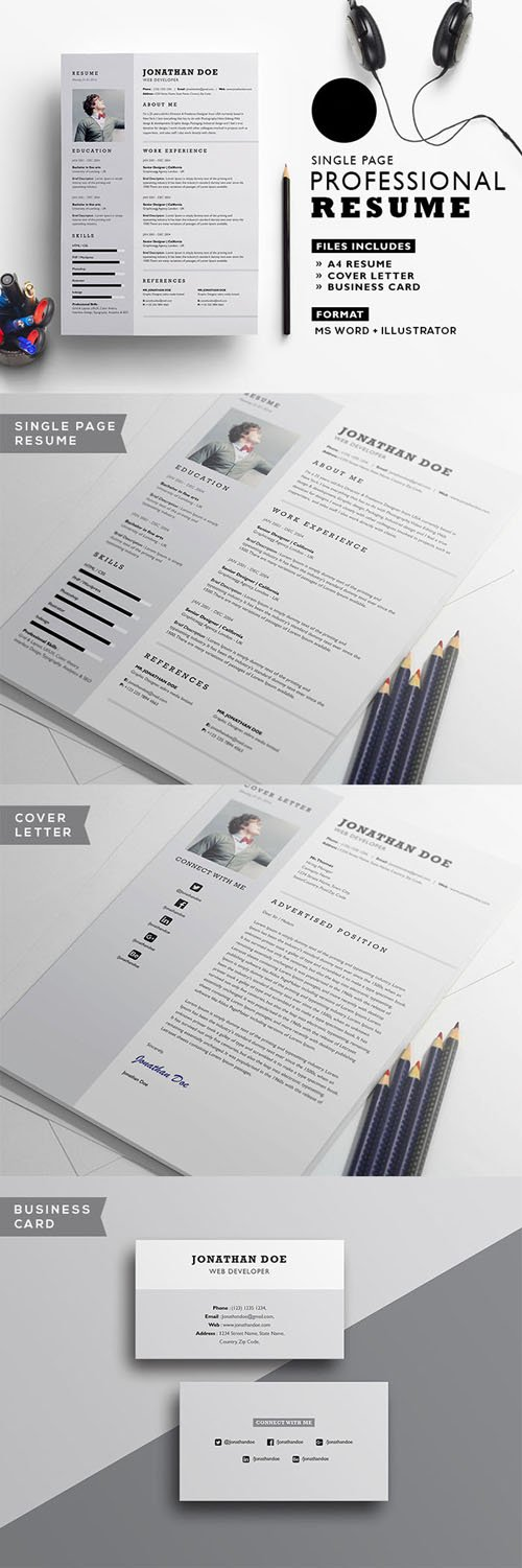 Single Page A4 Professional Resume/CV Template for [Illistrator & MS Word]