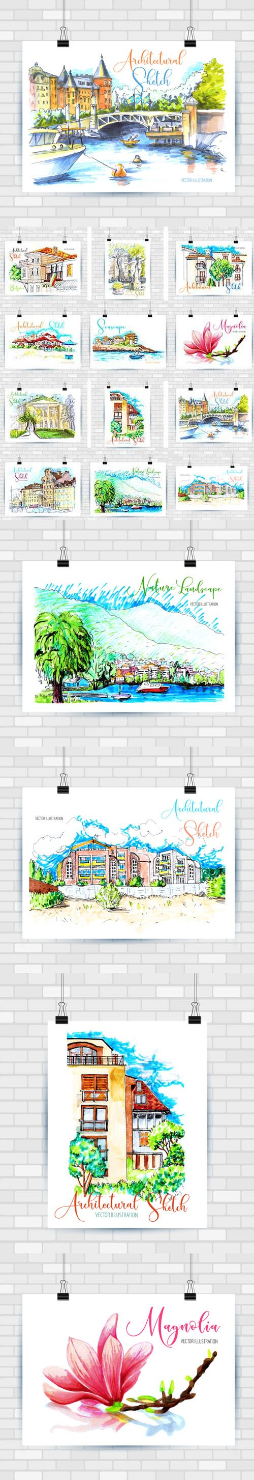 12 City Landscapes illustrations in Vector