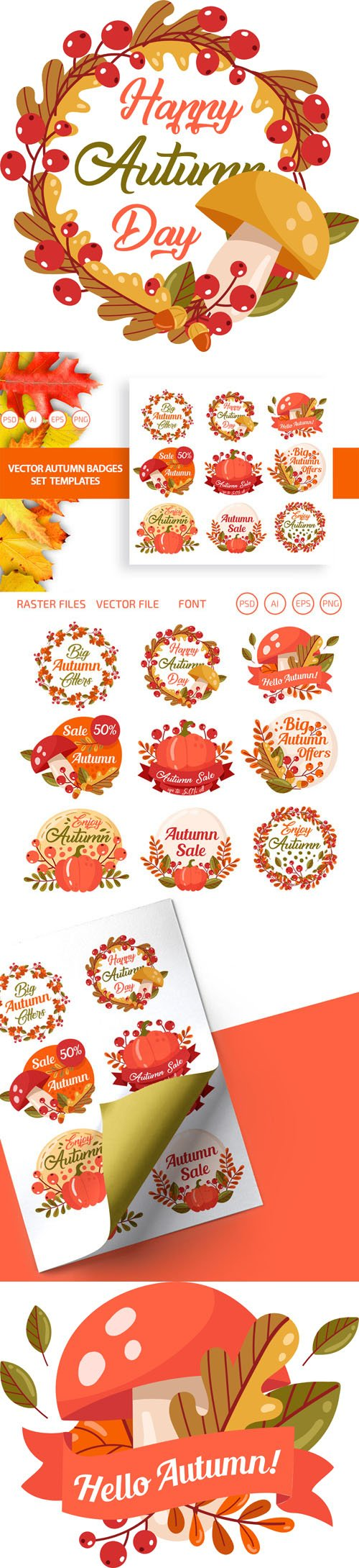 Vector Autumn Badges Set Templates