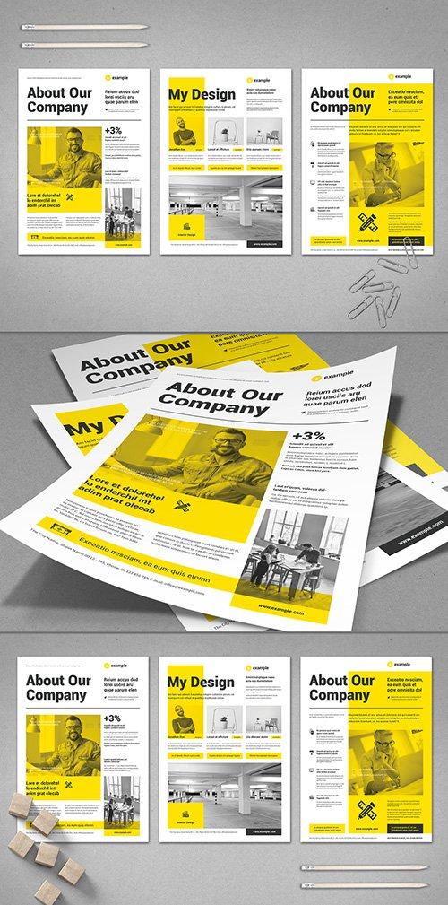 Black and White Flyer Layout with Yellow Elements 295114444 INDT