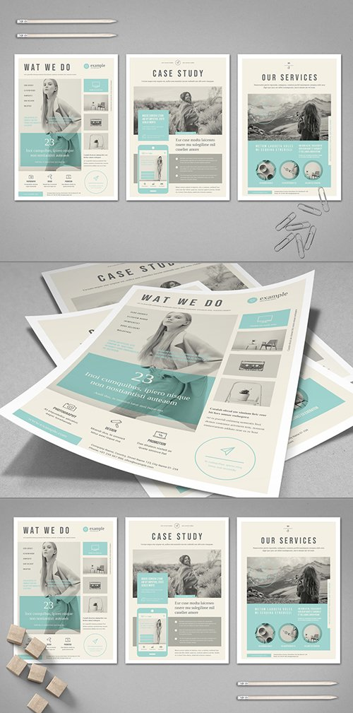 Beige Flyer Layout with Pale Blue Accents 295114425 INDT