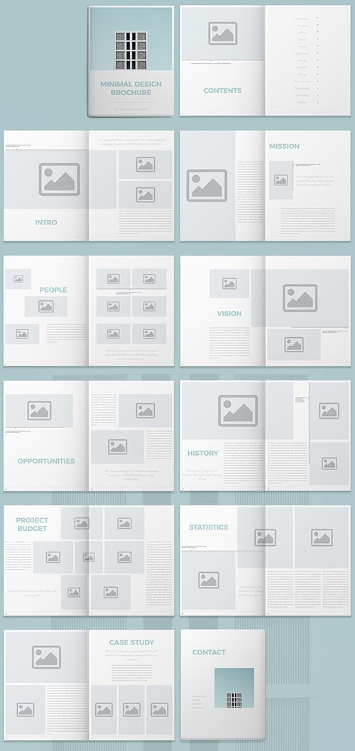 Brochure Layout with Light Blue Accents 295137414 INDT