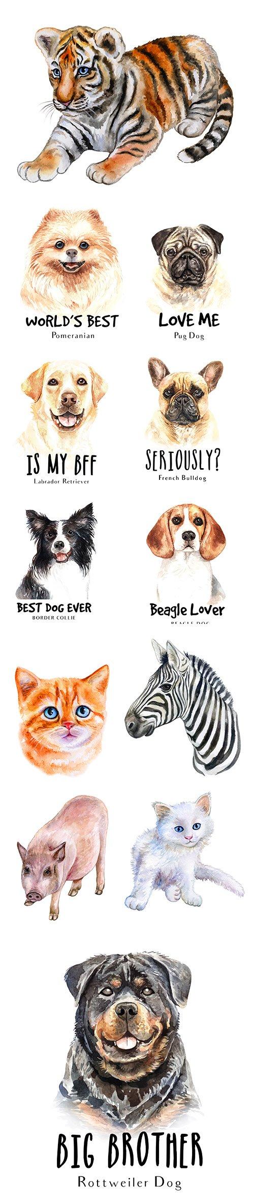 Watercolor Printing Animals Vol 6