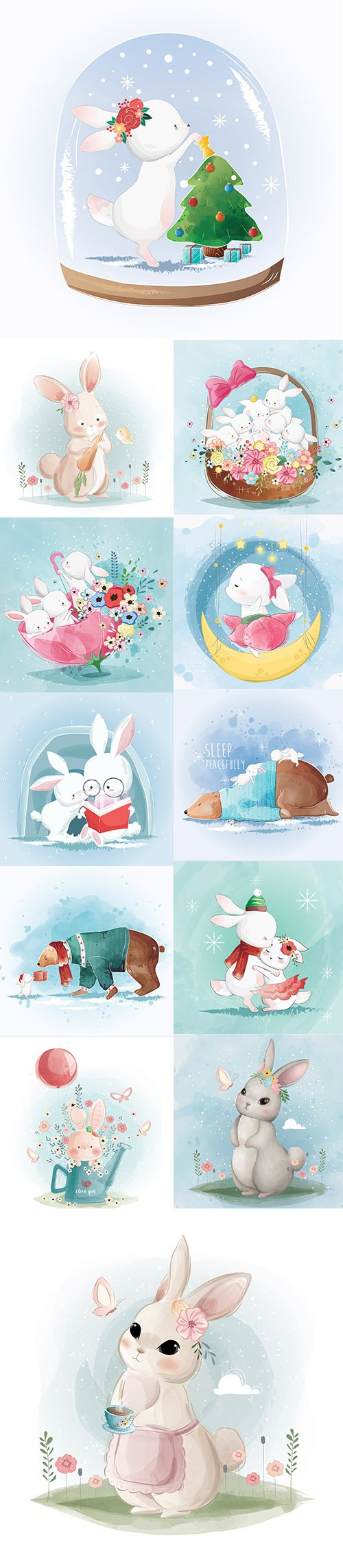 Set of Hand Draw Watercolor Adorable Animals Illustrations Vol 2