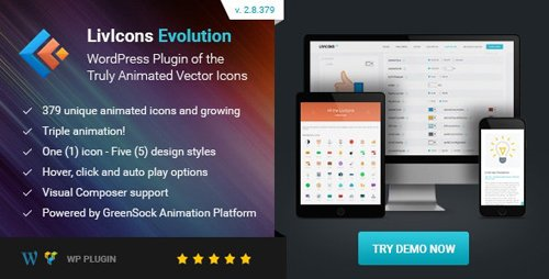CodeCanyon - LivIcons Evolution for WordPress v2.8.379 - The Next Generation of the Truly Animated Vector Icons - 16986405