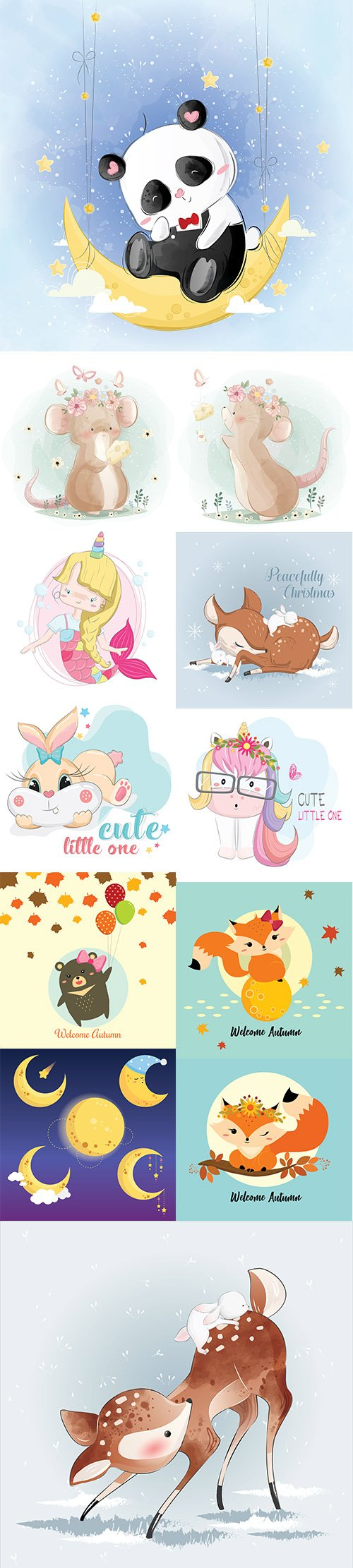 Hand Draw Watercolor Adorable Animals Illustrations Vol 5