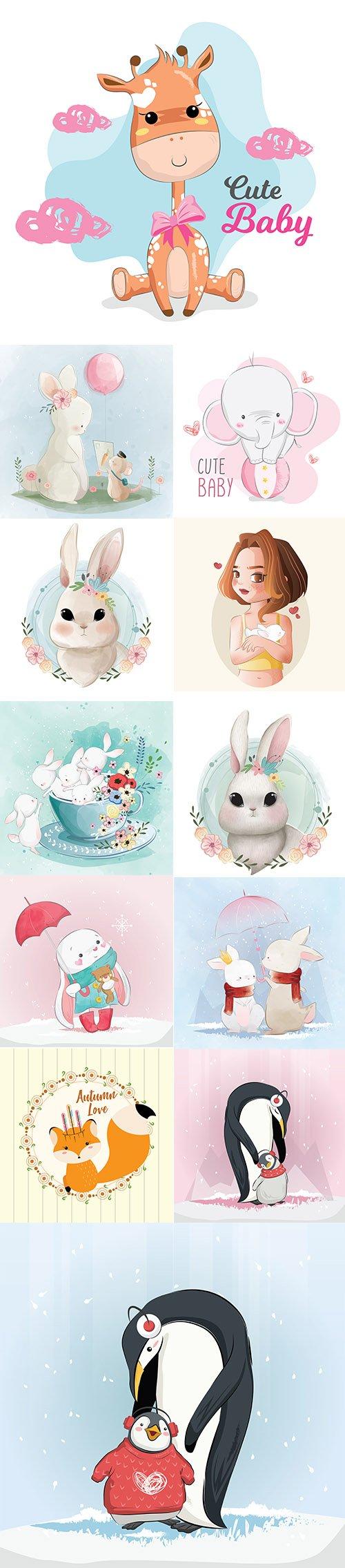 Hand Draw Watercolor Adorable Animals Illustrations Vol 3