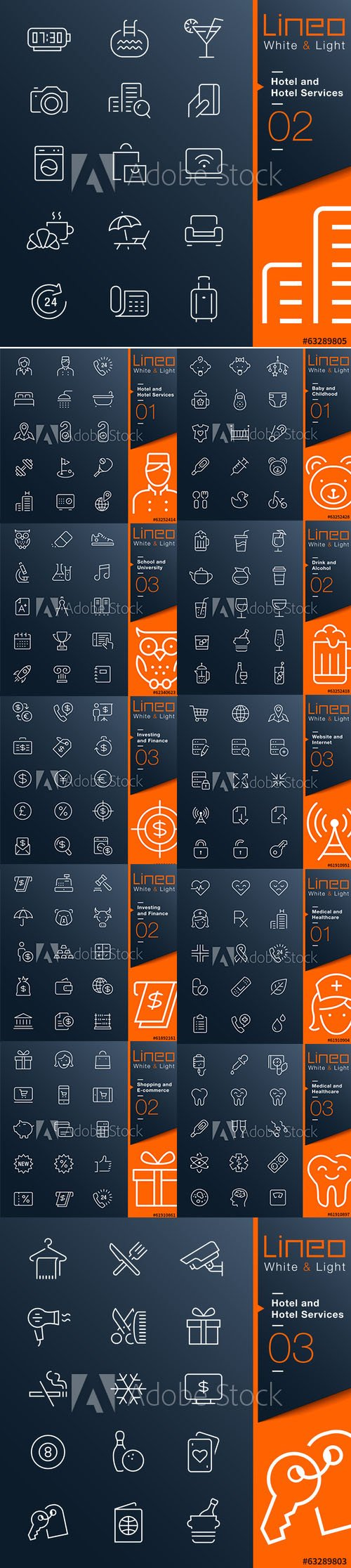 Lineo White and Light Outline Icons Vol 3