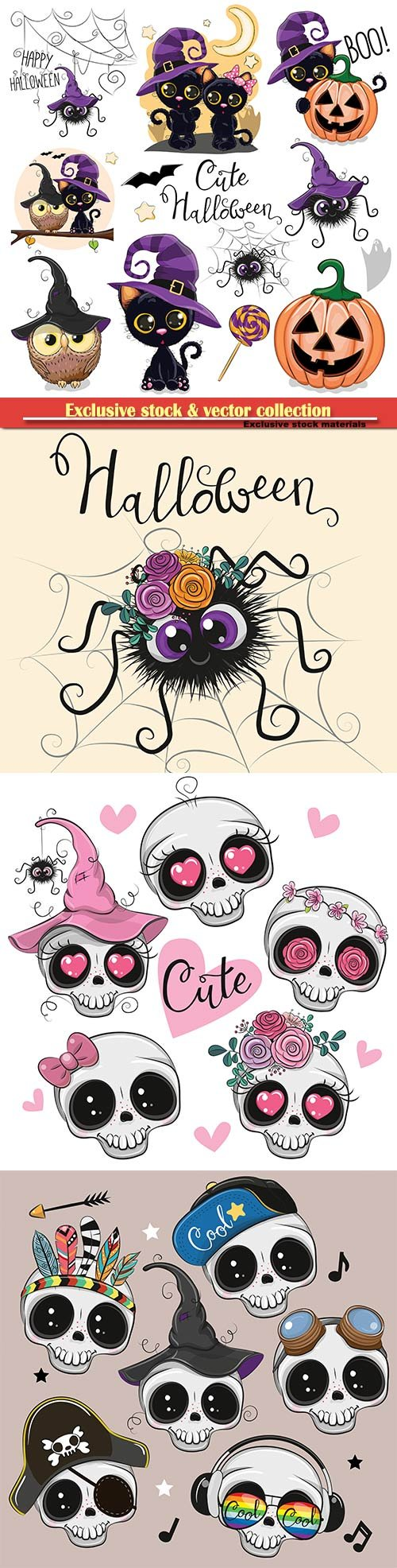 Set of Cute Halloween illustrations and design elements