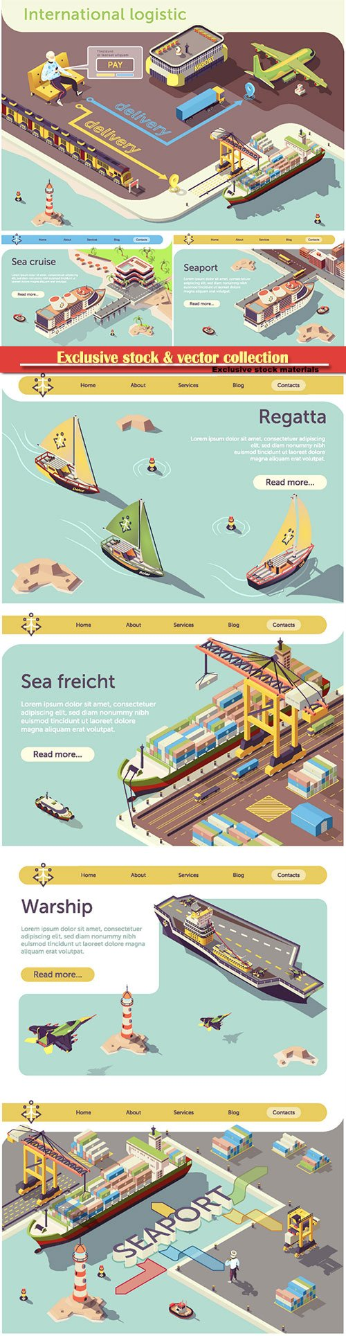 Online International Logistic Infographic Banner
