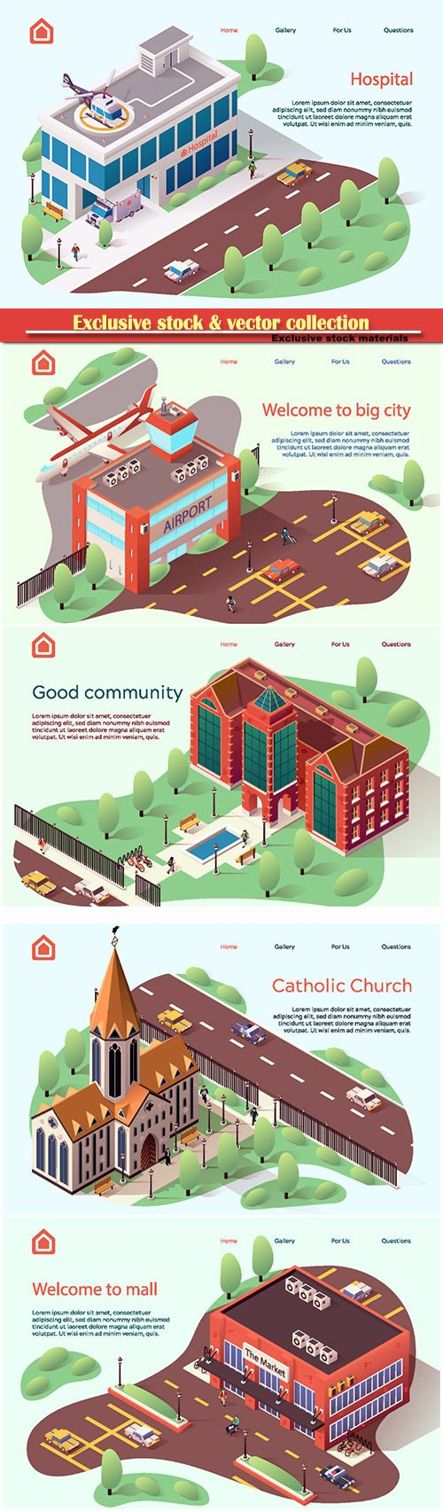Advertising flyer is written good community cartoon flat, large modern building vector illustration