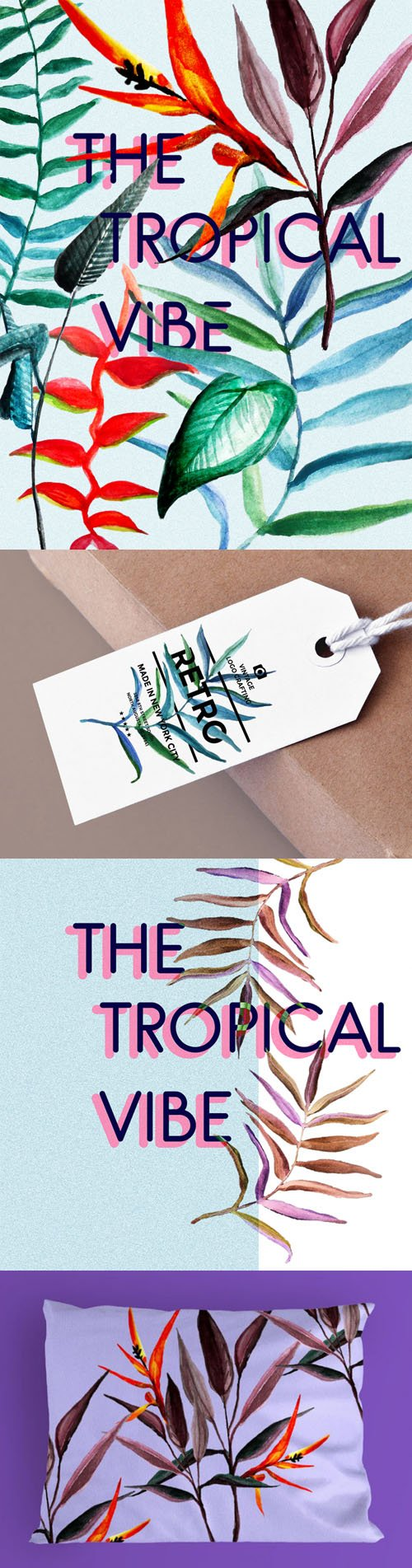 The Tropical Vibe Watercolor Photoshop Brushes & PNG Collection