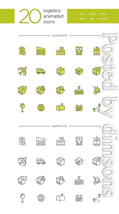 20 Logistics Animated Icons