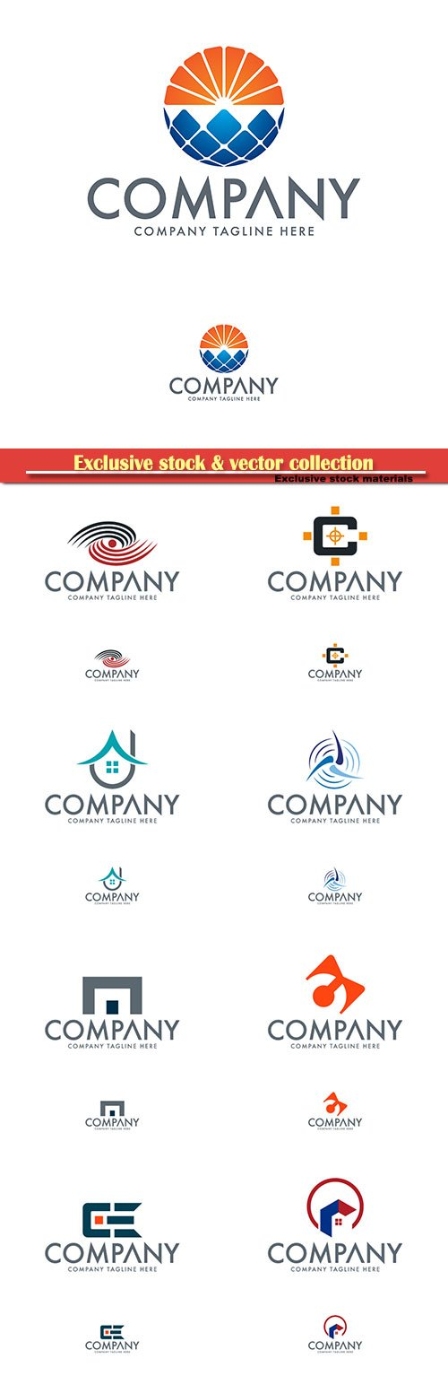 Logo vector template business set # 75