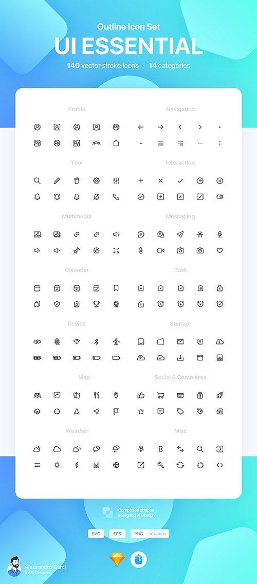 UI Essential - Outline Icon Set