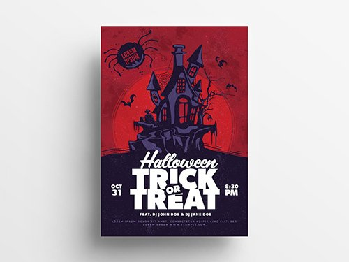 Halloween Illustrative Flyer Layout with Haunted House 295362381 PSDT