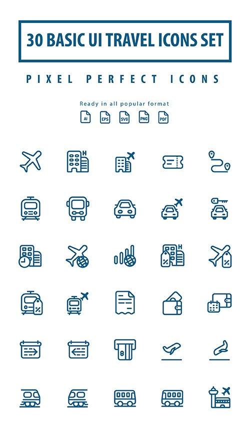 Basic UI Travel Lineart Icons Set