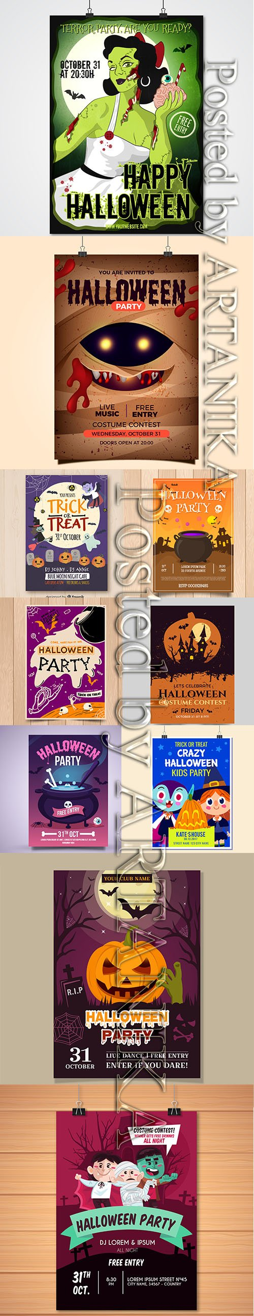 HALLOWEEN PARTY FLYERS AND POSTER PACK VOL 3
