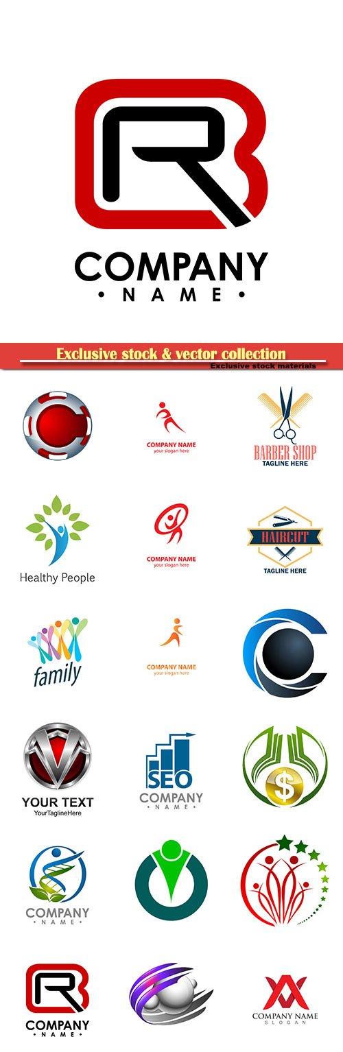 Logo vector template business set # 84