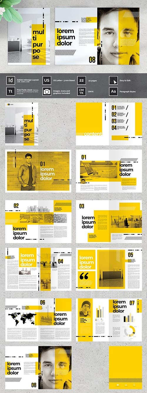 CreativeMarket - OUBEL Yellow Multipurpose Brochure 4162134