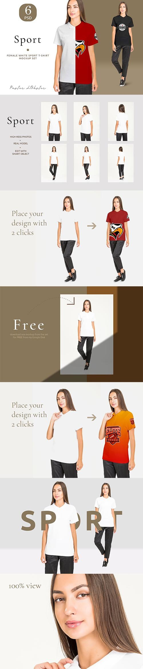 CreativeMarket - Women sport t-shirt mockup set 4158156