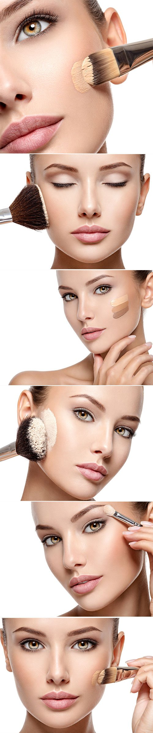 Woman applying liquid tonal foundation on the face